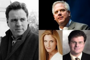 Right-wing pundits (from left clockwise) Niall Ferguson, Glenn Back, Jonah Goldberg, Ann Coulter