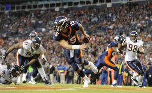 Tim Tebow scrambles during a fourth-quarter rally against the Chicago Bears Sunday, Dec. 11 (John Leyba, The Denver Post)