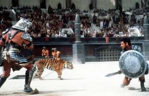 Gladiatorial games in Roman colosseum