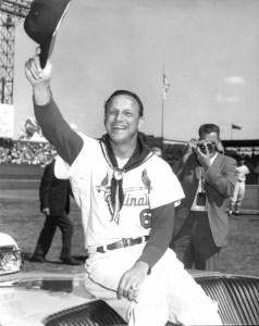 Stan at his retirement ceremony in 1963 (his number 6 was retired with him).