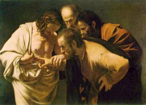 Thomas puts his finger in the wound of the resurrected Jesus.