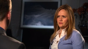 Samantha Bee interviewing Matt Slick on The Daily Show
